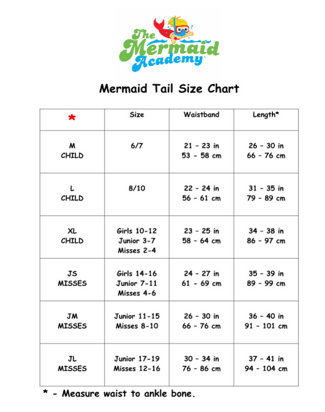 Mermaid Sizing